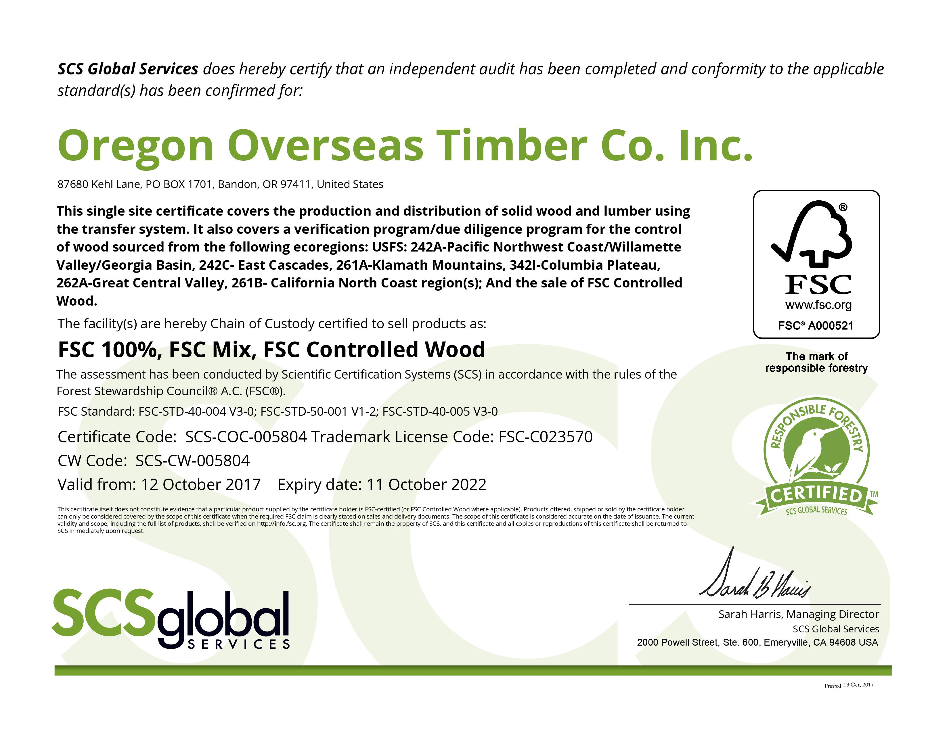 Sustainability Oregon Overseas Timber Co